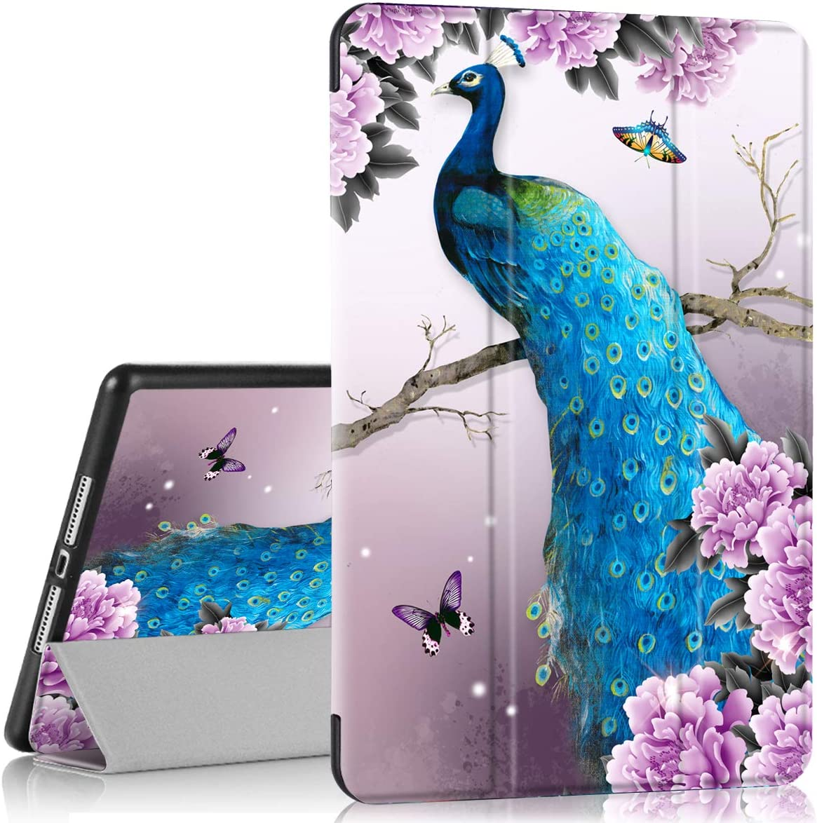 PIXIU ipad 10.2 2020/ 2019 case with Pencil Holder ,PIXIU ipad 7th /8th Generation Cases,Full Body Protective Folio Leather Smart case Cover with Wake/Sleep Feature Peacock