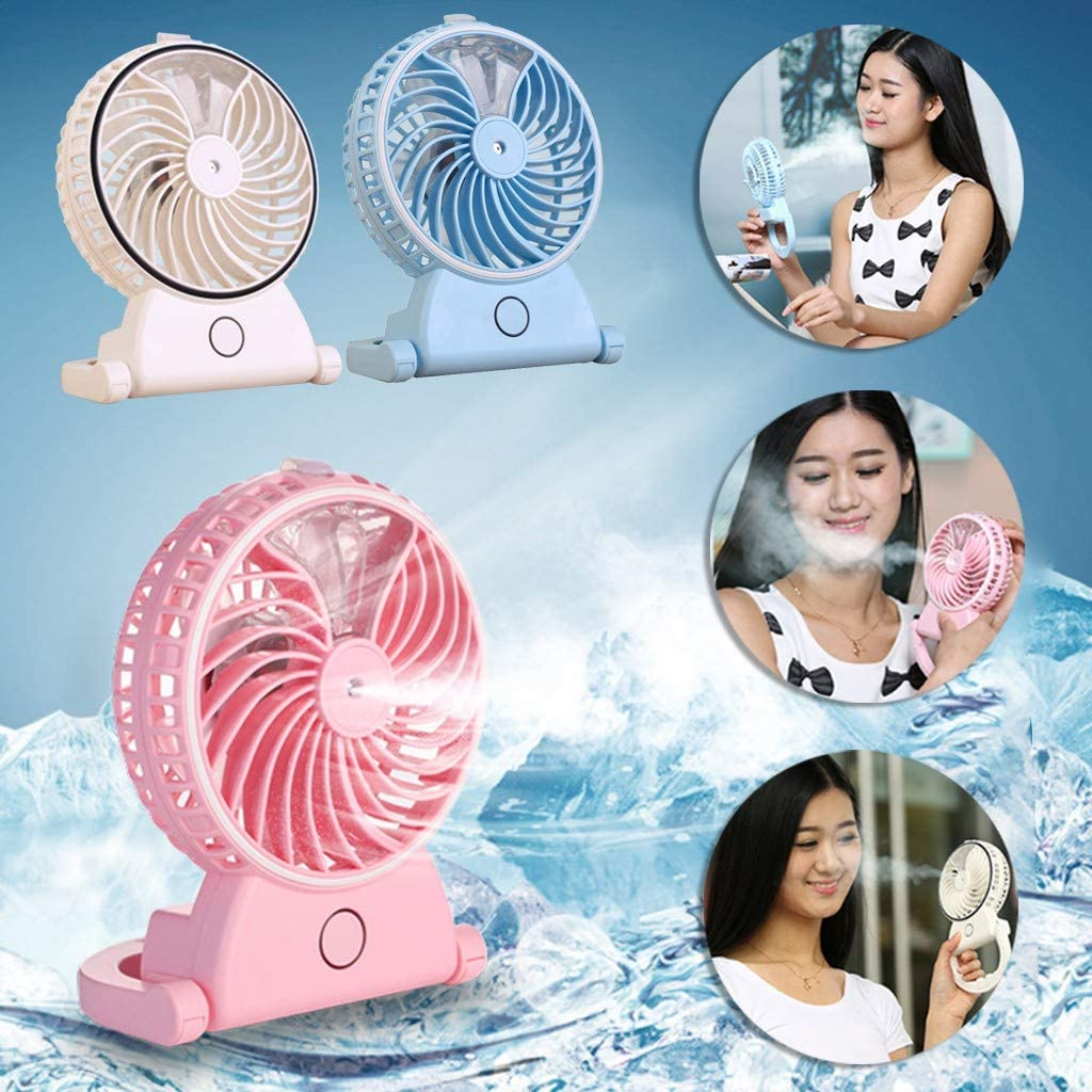SOOTOP Mini USB Humidifier Handheld Fans Personal Portable Misting Cooling Adjustable Spray for Dorm Indoor Outdoor Office Household Traveling Camping Bedroom Low Power Consumption