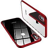 TORRAS iPhone Xs 専用ケース TPU/背面クリア+赤メッキ加工/黄変防止/Qi充電対応 薄型 耐衝撃アイフォンXsカバー(レッド