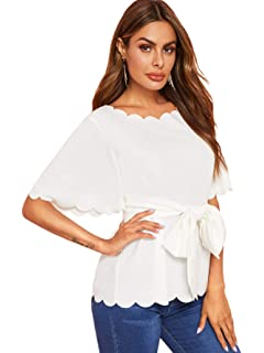 beee9293fa Romwe Women's Bow Self Tie Scalloped Cut Out Elegant Office Work Tunic  Blouse Top