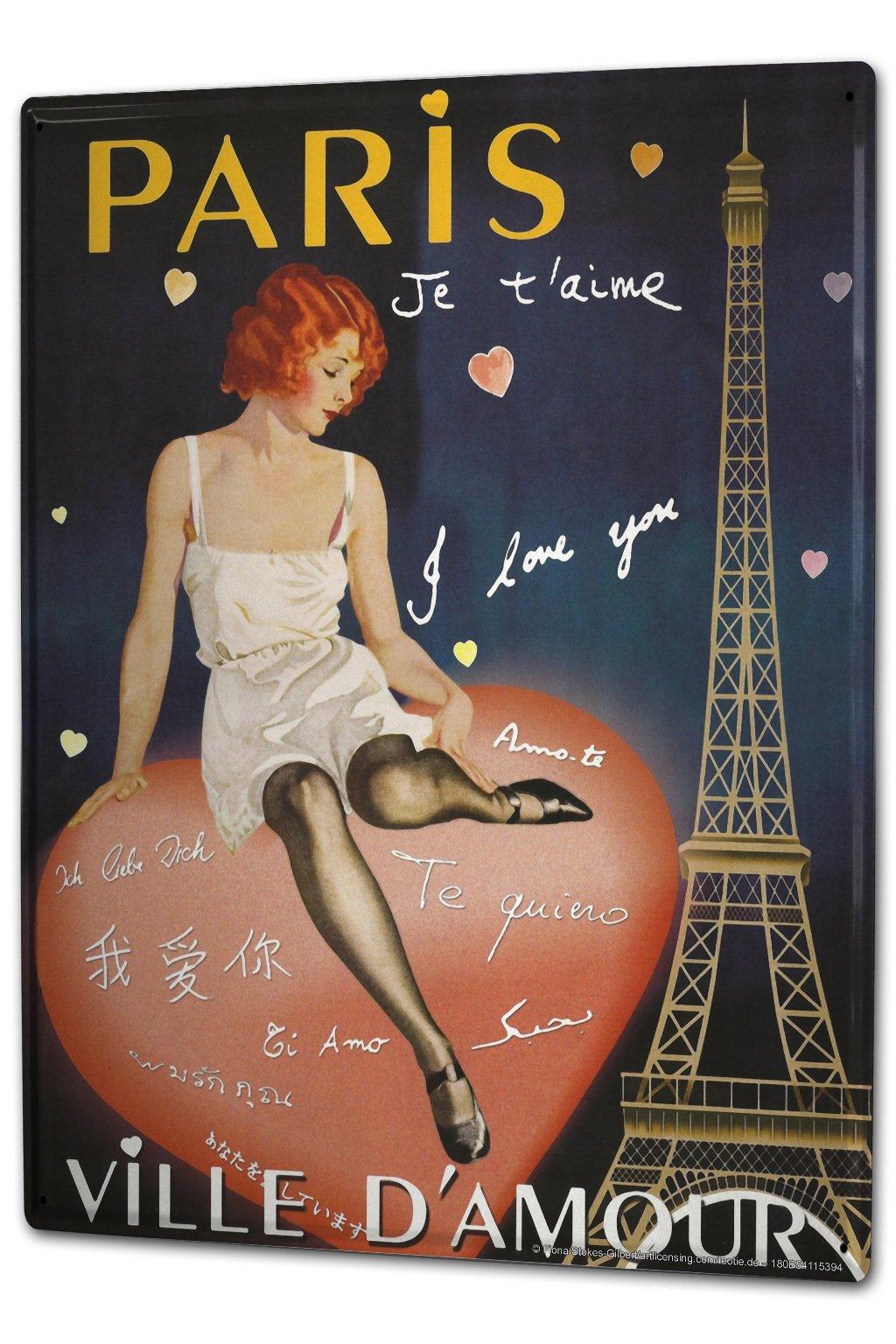 Tin Sign XXL Retro Art Metropole Paris Lady Heart Eiffel Tower