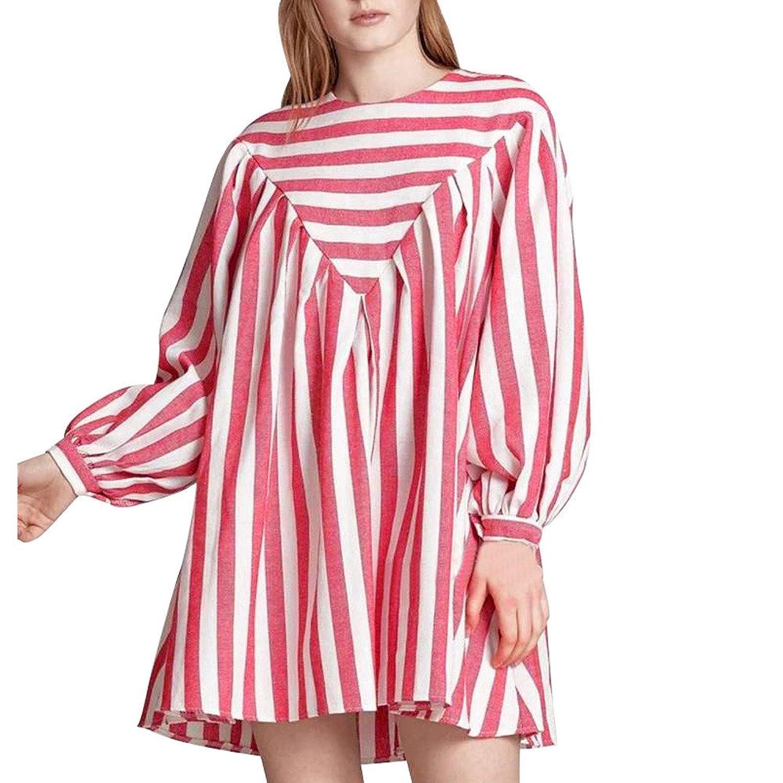 Caopixx Women's Striped Print Cotton Linen Dress Party Beach Mini Dress Shirt Dresses