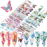 Butterfly Nail Art Foil Transfer Stickers Nail Art Supplies Butterfly Nail Foils Decals Adhesive Design for Nails…