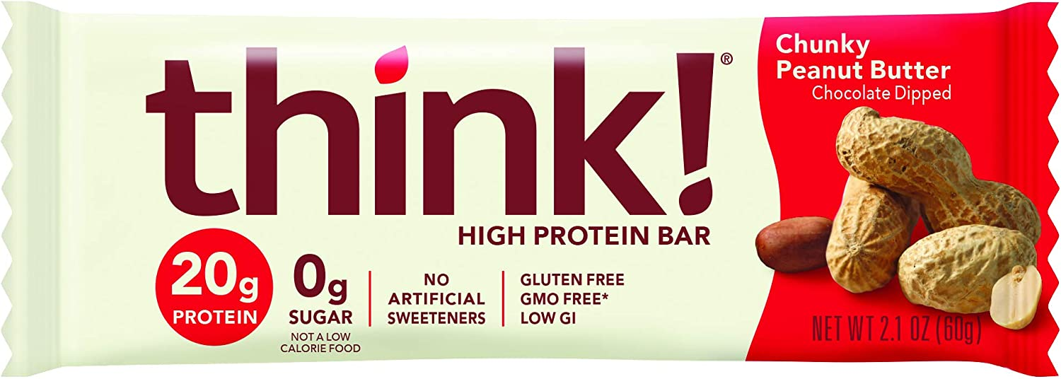 think!, High Protein Bars - Chunky Peanut Butter, 20g Protein, 0g Sugar, No Artificial Sweeteners, Gluten Free, GMO Free, 2.1 Ounce bar