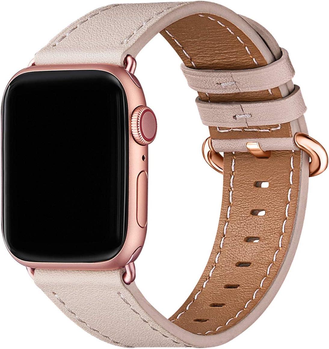 WFEAGL コンパチブル Apple Watch バンド,は本革レザーを使い、iWatch SE,Series 6/5/4/3/2/1、Sport、Edition向けのバンド交換ストラップです コンパチブル アップルウォッチ バンド(38mm 40mm, ピンクの砂 バンド+ゴールド バックル)