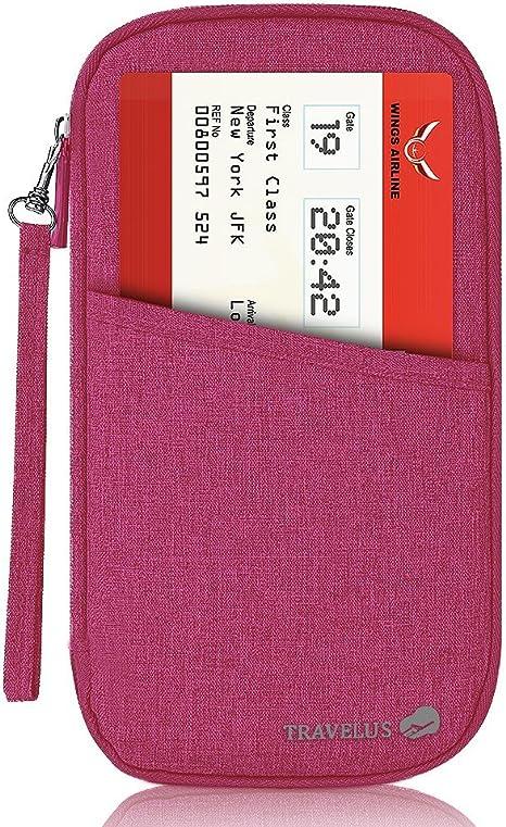 Fleulumira Portefeuille Passeport Pochette Organisateur de Voyage Pour des Passeport,Billets,Monnaies,Cartes,Argent,Papiers,Documents Violet