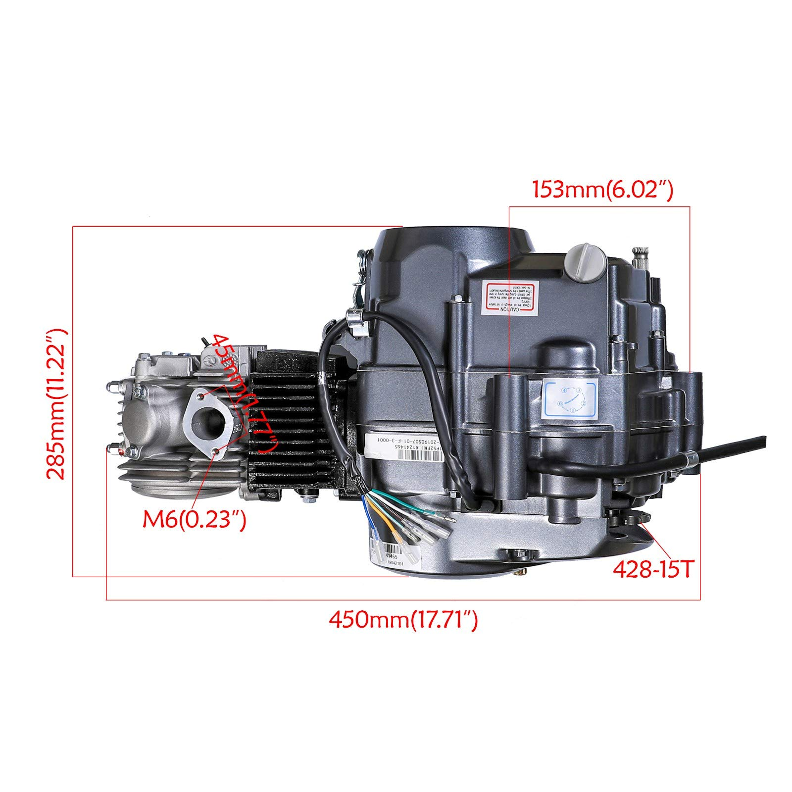 125cc 4-Stroke Engine Motor Single Cylinder Air-Cooled clutch operated by hand Motor Engine with Wiring Harness for Honda CRF50 Z50 CRF70