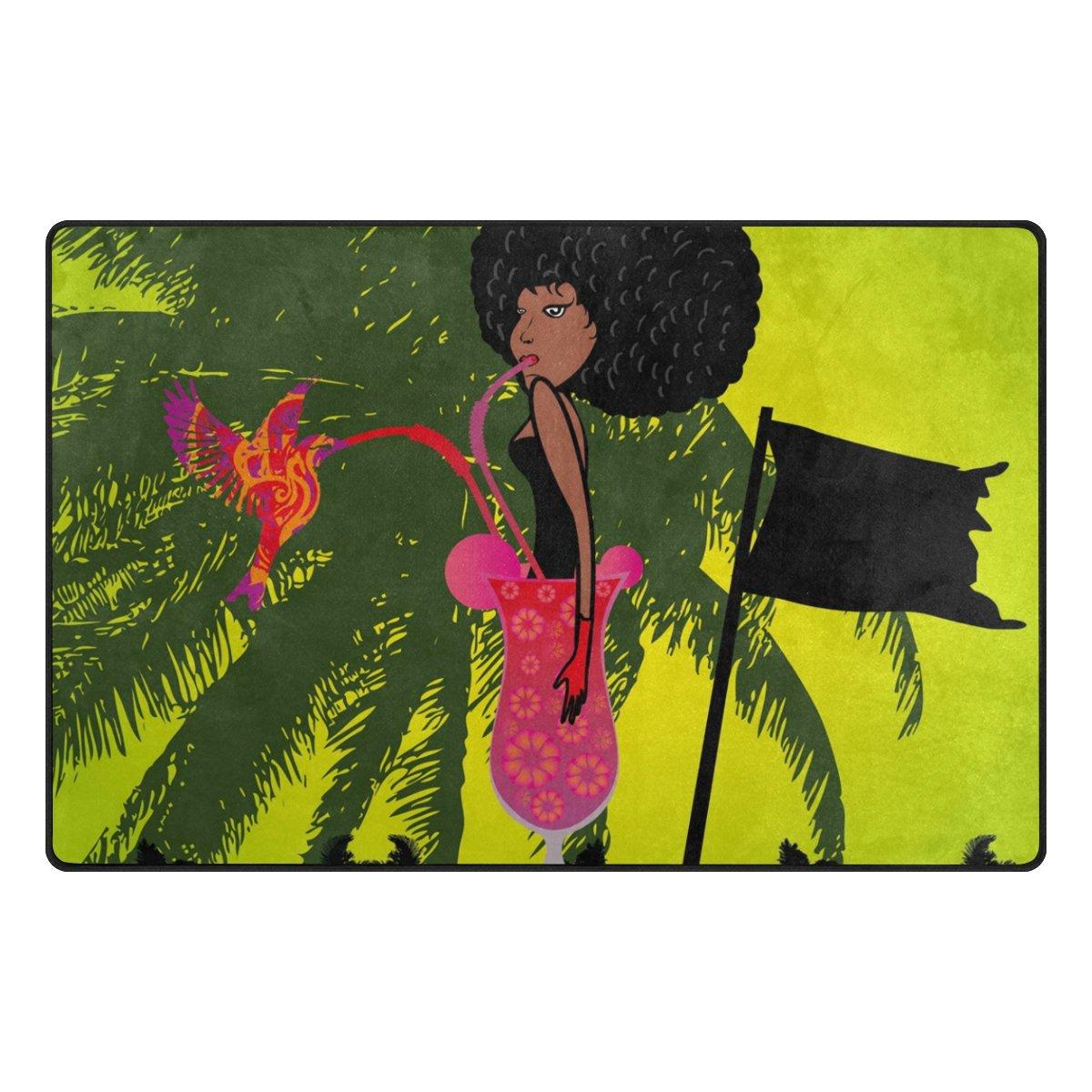 Benni giry pájaro Rango de mujeres africanas Alfombra antideslizante Diario de DF920felpudos para salón dormitorio 78,7x 50,8cm, poliéster, multicolor, 31 x 20 inch