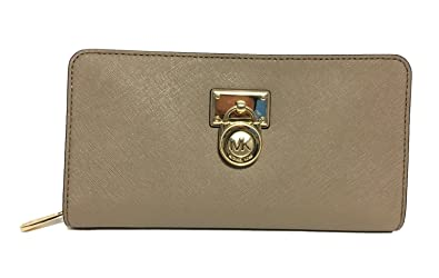 59bd5e3b100503 Michael Kors Hamilton Traveler Large Zip Around Saffiano Leather Wallet  (Dark Taupe)