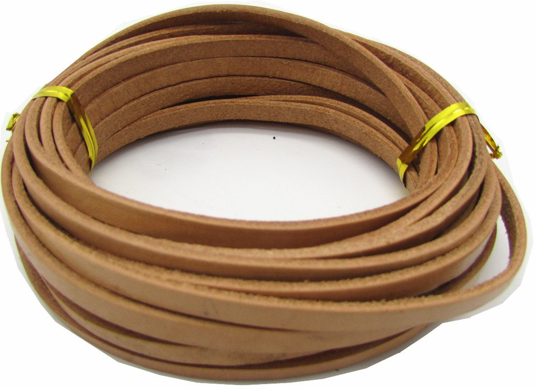 Flat Leather Cord Bracelet Necklace Necklace 5 Meters Brown, 5Meter 5.0mm Leather