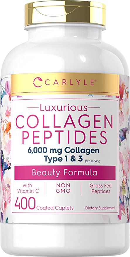 Collagen Peptides 6000 mg 400 Pills | with Vitamin C | Type 1 and 3 | Hair, Skin and Nails Supplement | Non-GMO, Gluten Free, Grass Fed | Carlyle