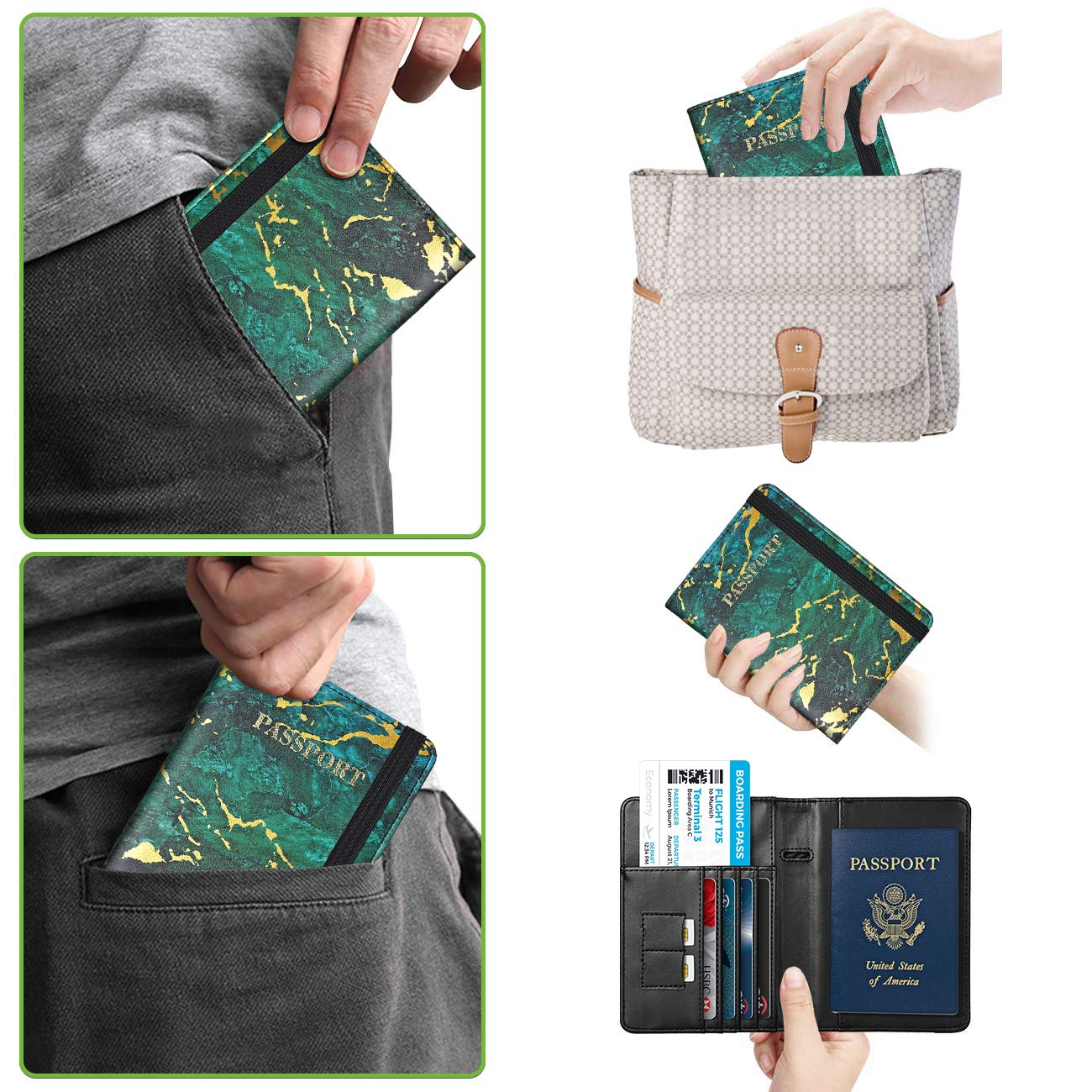 RFID Blocking PU Leather Passport Cover Travel Wallet Case with Magnetic Buckle for Men /& Women Gold Green Marble Supgear Passport Holder Protector