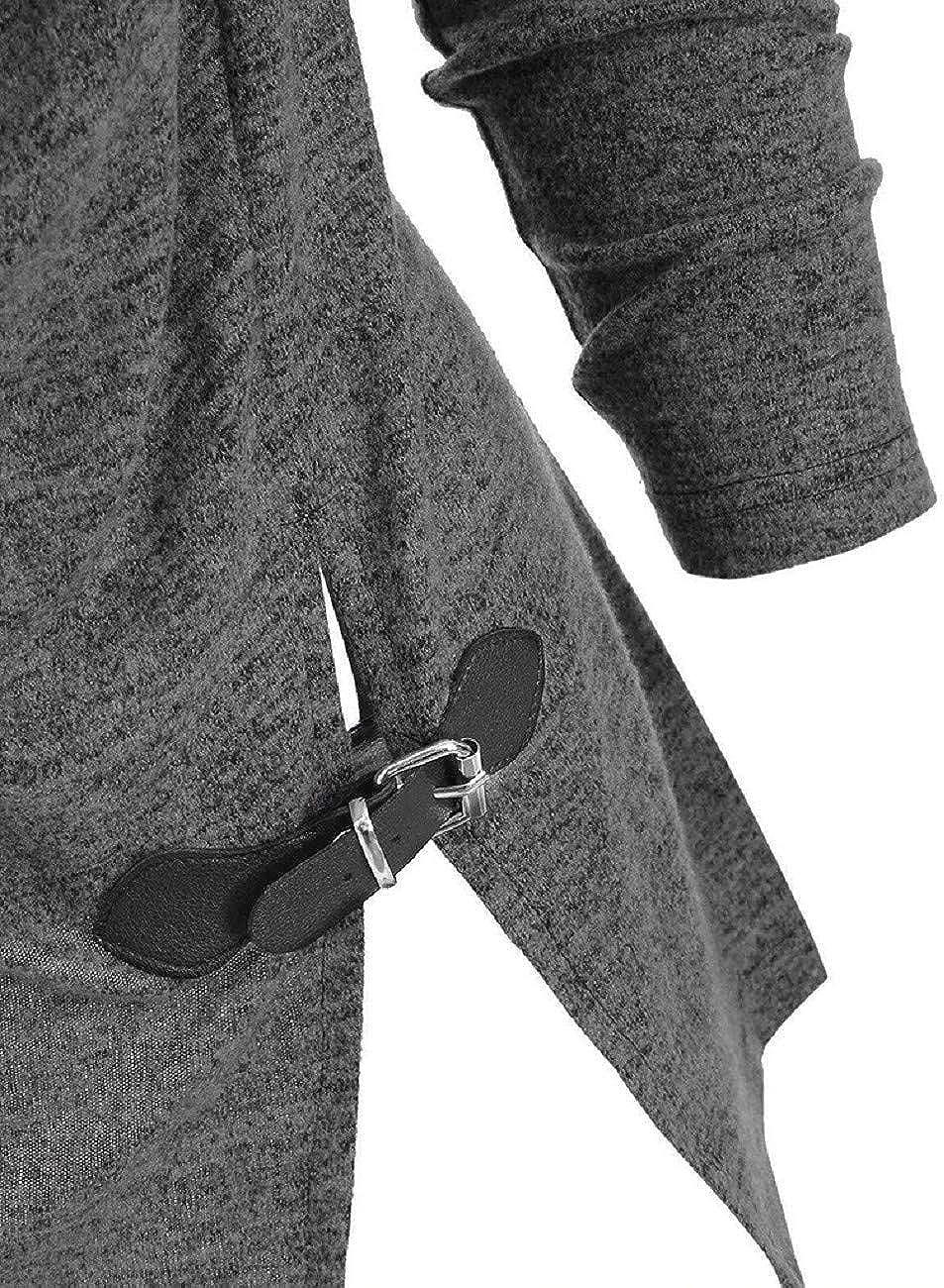 FAPIZI Womens Tunic Tops Shirt Plus Size Solid Turtleneck Tee Raglan Long Sleeve Split Pullover Blouse Sweatshirt