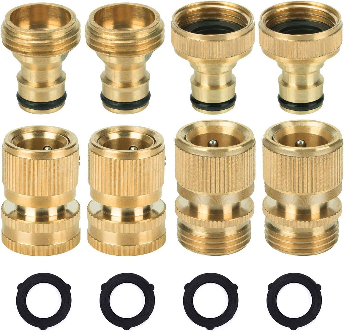 8PCS Garden Hose Quick Connector, 3/4 inch GHT Solid Brass Water Hose Thread Fittings, Easy Connect & Disconnect Adapters, Male and Female(2+2 Pairs)