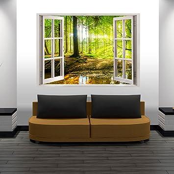 Blick aus dem fenster poster  murando® 3D WANDILLUSION 140x100 cm Wandbild Fototapete Poster XXL ...