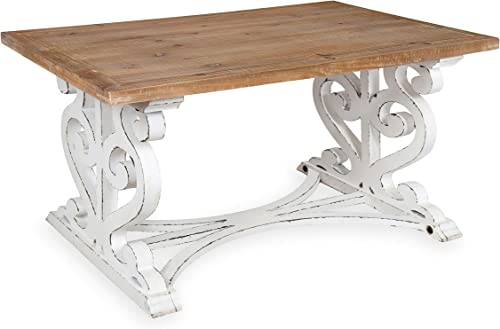Kate and Laurel Wyldwood Rustic Carved Coffee Table, 38 x 23 x 18 , Distressed Brown and White, Farmhouse-Inspired Living Room Decor