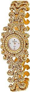 Black Royale Women's White Dial Brass Band Watch - 10801LSRB