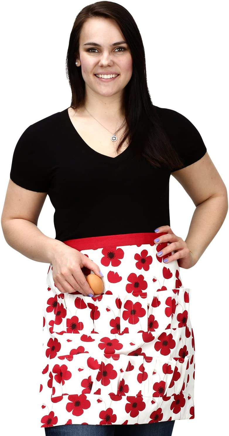 Cackleberry Home Egg Collecting & Gathering Apron 12 Pockets, Red Poppies
