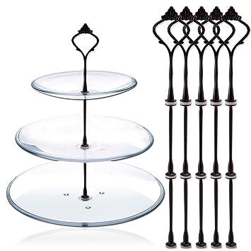 TININNA 5 Ajusta 3 Tier Crown Cake Stands y casetas manija Cake Plate Holder Display de Tea Shop Room Hotel Negro: Amazon.es: Deportes y aire libre
