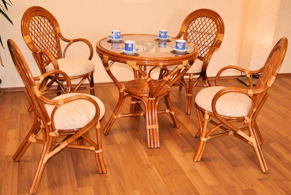 Rattangarnitur , Rattangruppe Bali , Set 4 Rattansessel + Rattantisch Fb. Cognac , inkl. Polster