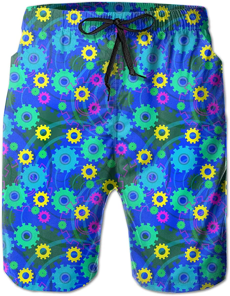 STDKNSK9 Mens Mechanics Background Pattern Board Shorts Swim Trunks