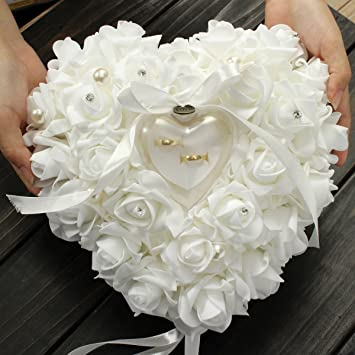 yosoo wedding ring pillow heart box with ribbon pearl wedding ceremony for wedding supplies gift - Wedding Ring Pillow