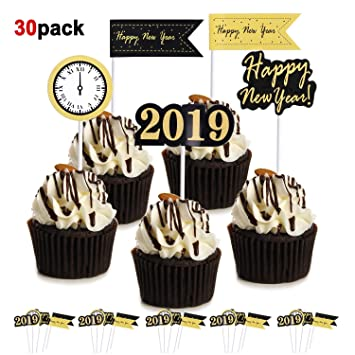 Howaf 30 Stuck Silvester 2019 Party Deko Frohes Jahr Party Cupcake
