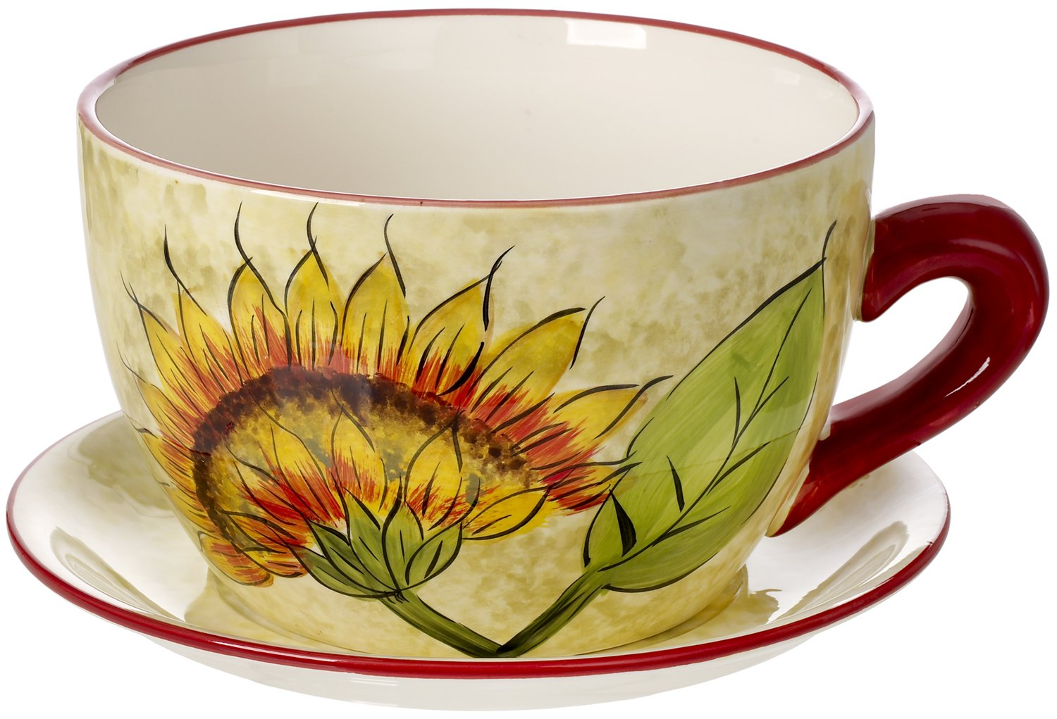 5th Ave Store Cucina Italiana Ceramic Planter Teacup and Saucer Indoor, Outdoor Sunflower Decor