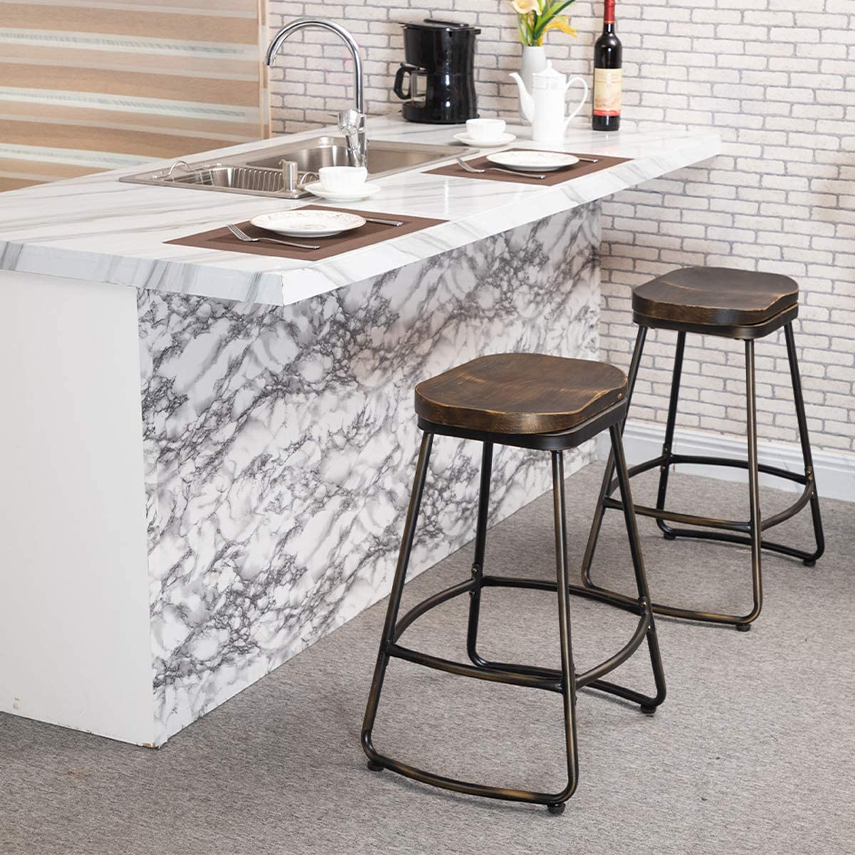 Awonde Swivel Bar Stools Set of 2 Industrial Distressed Metal Bar stools 30 inches