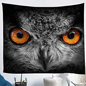 Erosebridal Owl Tapestry Cute Owl Wall Hangings Grey Owl Head Tapestries for Kid Boy Teen Men Mammal Wildlife Animal Bird Tapestry, Decor Bed Spreads, Gray Wall Artwork Decor