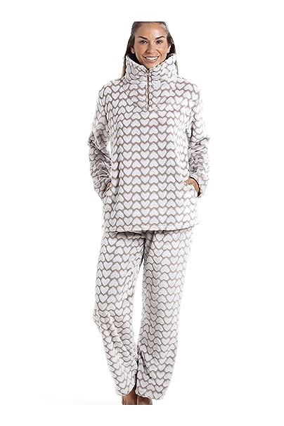 Conjunto de pijama - Forro polar suave - Estampado de corazones blancos - Marrón 38/