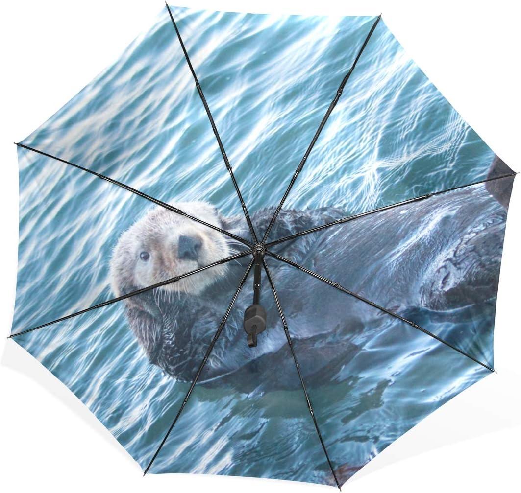 Rain Umbrella For Women California Sea Otter In Morro Bay On The Central C Portable Compact Folding Umbrella Anti Uv Protection Windproof Outdoor Travel Women Reversable Umbrella Windproof