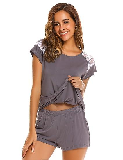 0aff19d9fd3 evokem Women O-Neck Short Sleeve Lace T-Shirt Sleepwear Shorts Pajama Set