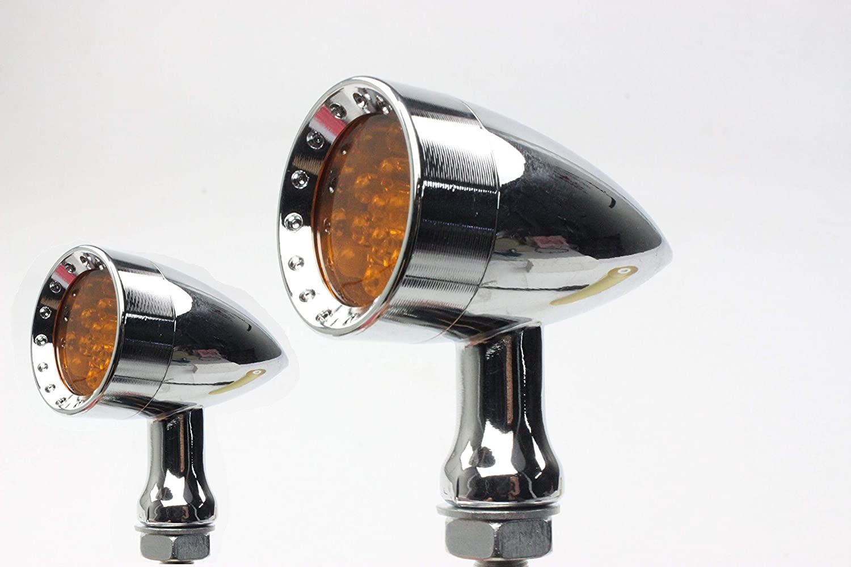 MGOD Motorcycle Turn Signals Brake Light Amber Lens for Harley Honda Suzuki Yamaha Kawasaki,2 Pack senhai silver-1