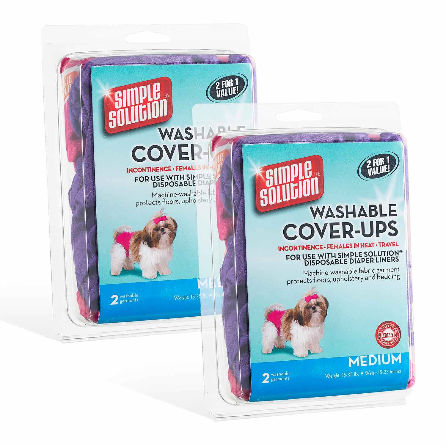 Simple Solution Washable Diaper Cover Ups, Medium, Pink/Purple - 4 Pack