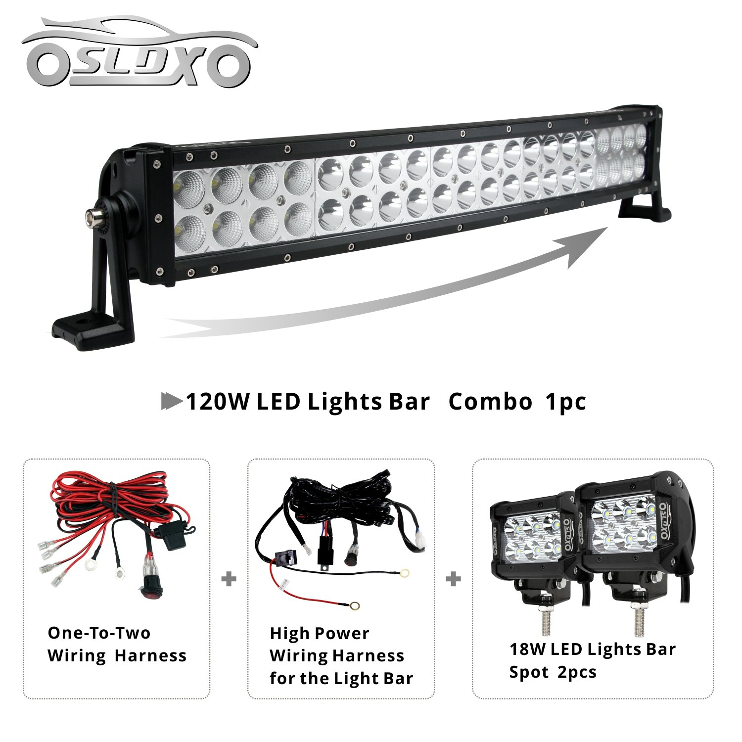 Sldx 120w 22inch Off Road Curved Combo Led Light Bar Wiring Two Bulbs In Series 2pcs 18w Spot Free Harness Automotive