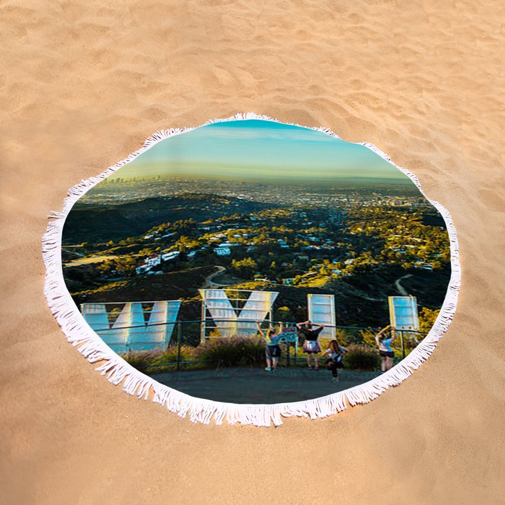 Pixels Round Beach Towel With Tassels featuring ''Hollywood Dreaming'' by Az Jackson