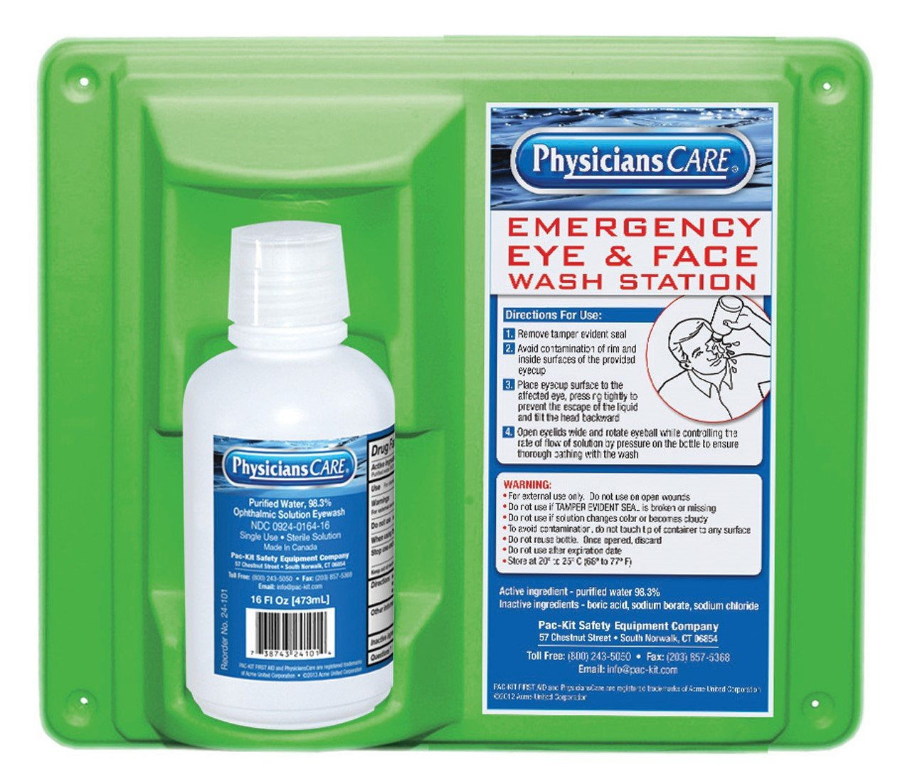 PhysiciansCare by First Aid Only 24-000 Wall Mountable Eye Flush Station with Single 16 oz Bottle, 11-3/4'' L x 4'' W x 13-3/4'' H by Pac-Kit