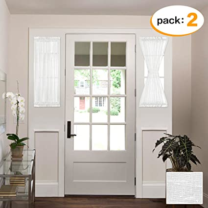 H.VERSAILTEX White Patio Door Curtain Panels Energy Saving Easy Care Short  French Door Curtains