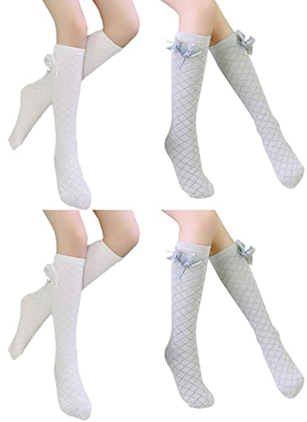72f6ad897 Happy Cherry Women Girls Cotton Bowknot Knee High Socks Stockings 4 Pack  5-12Y