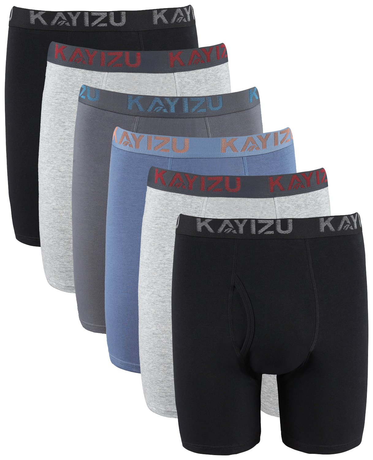 KAYIZU Men's Underwear Comfort Soft Cotton Stretch Boxer Briefs 6-Pack