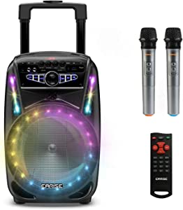 "EARISE M15 Karaoke Machine with 2 Wireless Microphones, 400W Portable Bluetooth PA Loudspeaker, 8"" Subwoofer, LED Lights, USB/AUX/FM Radio, 2 Extra Mic Jack"