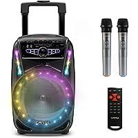 EARISE M15 karaoke-machine met 2 draadloze microfoons, draagbare 400 W Bluetooth-PA-luidspreker, 8 inch subwoofer, LED…