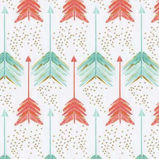 Carousel Designs Coral and Teal Arrows Fabric by the Yard - Organic 100% Cotton