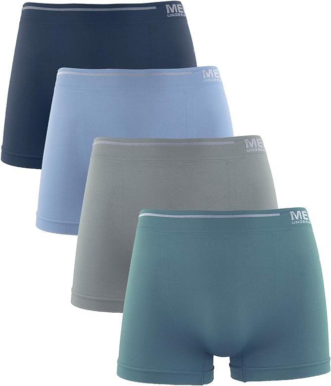 Calzoncillos de Hombre, Licra Sin Costuras Liso Color Uniforme Cómodo Suave Elásticos. Pack de 4 Boxer (Pack A, L): Amazon.es: Ropa y accesorios