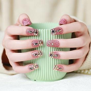 Amazon.com: Urberry 24 piezas/set novia rosa uñas postizas ...