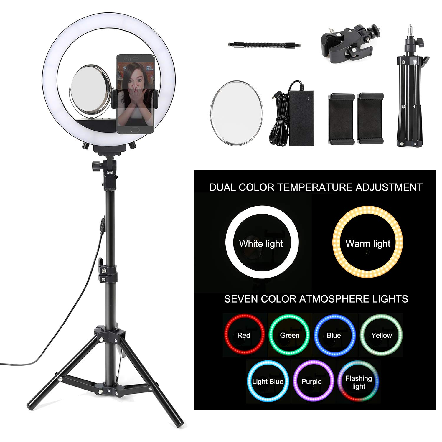 8 Dimmable LED Selfie Ring Light with Stand,Makeup Mirror and Phone Holder,Camera Photo Video Lighting Kit,24W 5500K Video Tabletop Lights Lamps