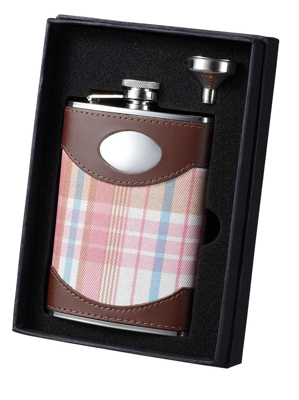 8-Ounce Hannah Pink Visol VSET34-1276 Plaid and Leather Flask and Funnel Gift Set