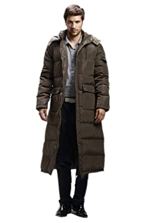 Spikerking Men's down jacket Hooded long Coat at Amazon Men's ...