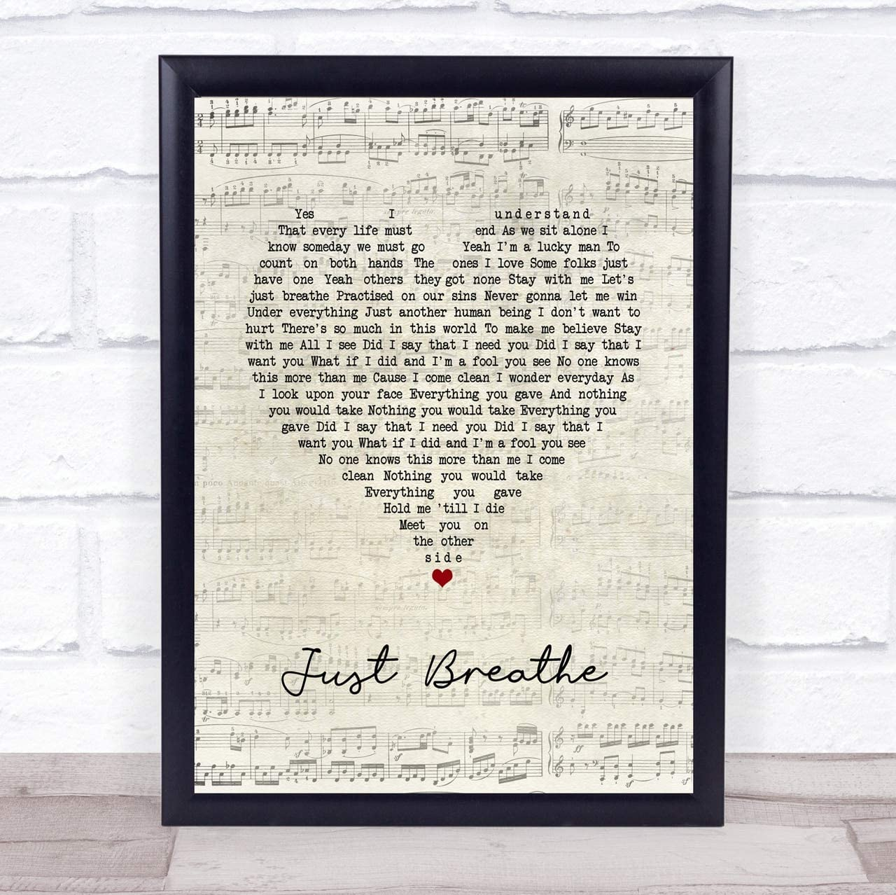 Bendrouka #Pearl #Jam #Just #Breathe Script Heart Song Lyric Poster Wall Art Home Decor Gifts for Lovers
